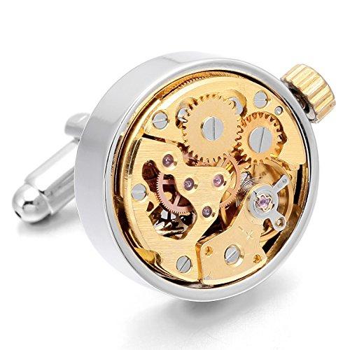 MunkiMix Nicht Arbeit 2 PCS Rhodium Rhodiniert Manschettenknöpfe Silber Golden Zwei Ton Uhrwerke Hemd Hochzeit Business 1 Paar Set Herren