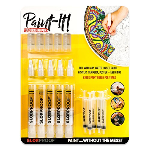 Slobproof Acrylic Paint Pens | Paint Brush Pens FiIll With Any Rock Paint, Canvas Paint, Glass Paint, Ceramic Paint or Glitter Paint | Medium-Point Paint Markers for Rock Painting and Fabric Painting