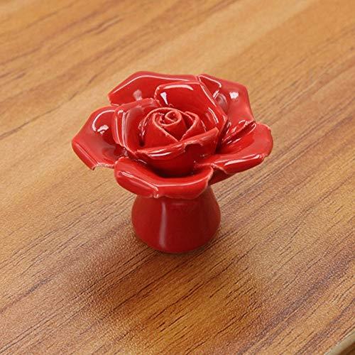 ADSIKOOJF Rose Bloem Handgrepen Kast Keramische Knopen Bloemen Keuken Handgrepen Dressoir Closet Kids Slaapkamer Meubilair 5 Kleuren
