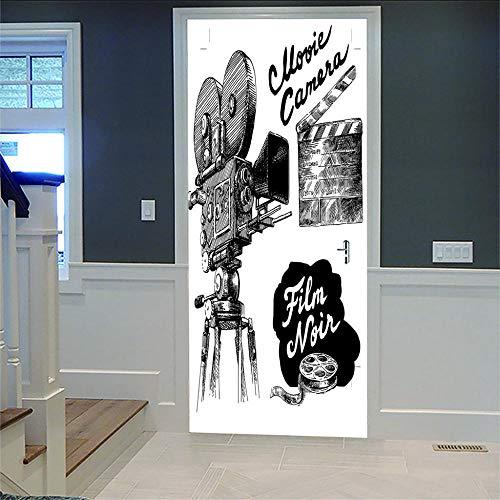 Deurstickers, 3D-folie, voor woonkamer, slaapkamer, voor deuren, 3D, badkamer, keuken, kinderkamer, om zelf te maken, 77 x 200 cm