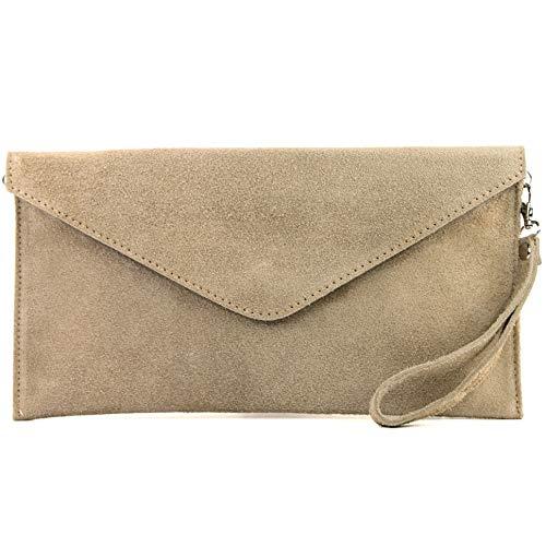modamoda de - T106 - ital Clutch Abendtasche aus Wildleder, Farbe:Sandfarben