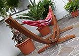 410cm XXL Luxus Hängemattengestell aus Holz Lärche Hängematte Modell: MONA mit bunter Hängematte von AS-S - 2