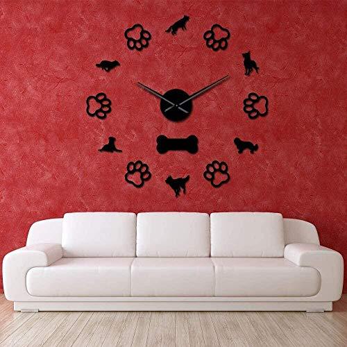 Reloj de pared 3D con decoración de calcomanías, reloj de pared silencioso Cavalier King Charles, preciso y fácil de colgar en la pared, adecuado para el hogar / oficina / hotel_black-47 pulgadas