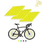 ETHEL Raggi Riflettenti,36 Pezzi Riflettori per Raggi della Bicicletta,Fermagli per Raggi del riflettore,per Bambini &Adulti Bicicletta Facile da Montare (Giallo)