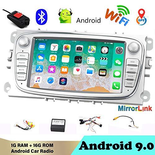 AutoRadio Bluetooth 2 DIN 7'Android 9.0 Reproductor Multimedia para Auto Audio de automóvil WiFi Navegación GPS Autoradio para Fo/rd/Focus/S-MAX/Mondeo 9 / GalaxyC-MAX con DVR Plata