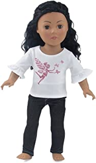 Emily Rose 18 Inch Doll Clothes | Black Stretch Skinny Jeans Outfit, Including 3/4 Length Sleeved T-Shirt with Pink Glitter Fairy Princess Print | Fits American Girl Dolls