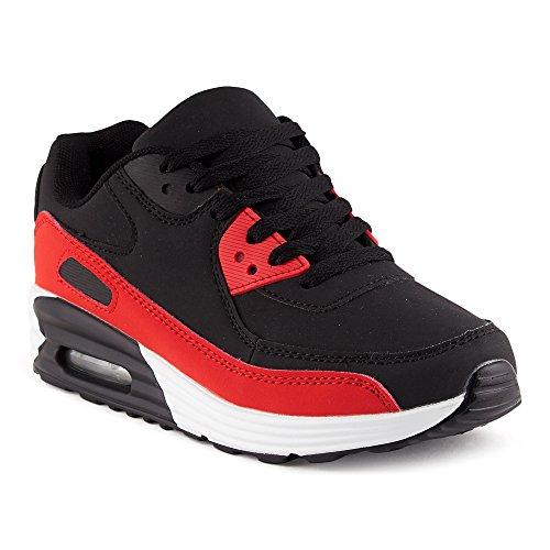 FiveSix Herren Damen Sportschuhe Dämpfung Sneaker Laufschuhe Schwarz/Rot-W EU 39