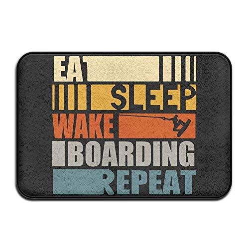 AoLismini Essen Sie Schlaf Wakeboarden Wiederholen Sie rutschfeste Innen- / Außentürmatte Teppich für Gesundheit und Wellness Küche Badezimmer Fußmatte