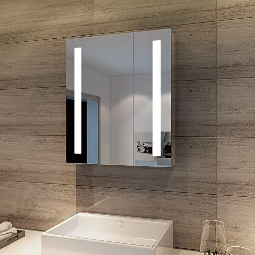 SONNI Spiegelschrank Bad 60 ×70 cm Badezimmer Spiegelschrank mit Steckdose Spiegelschrank mit Beleuchtung 2 türig Badezimmerspiegel Infrarot-Schalter