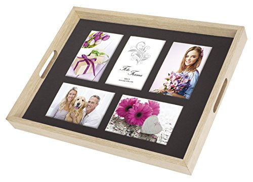 Zep W0099Platte für 5Fotos, Holz, naturfarben/Schwarz
