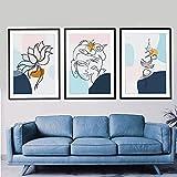 UHYGT Buda Lotus Lienzo Arte de la Pared Carteles e Impresiones Abstractos Minimalista Espiritual Yoga Meditación Pinturas Decoración de la habitación Imagen 40x60cmx3 Sin Marco