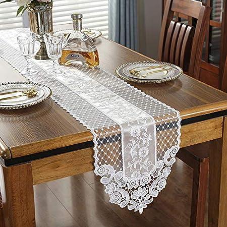 Spitzen-Tischl/äufer Exquisite Spitze Stoff mit Vintage bestickt Handarbeit Tischdecke Perfekt f/ür Hochzeit Kaffee Party Decor 30*70cm Champagne Gray