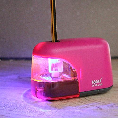 Eagle - Sacapuntas eléctrico con luz LED que brilla durante el afilado., color rosso
