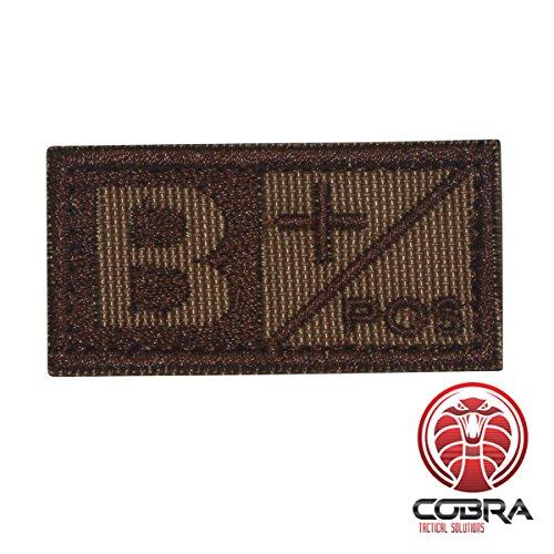 Cobra Tactical Solutions Blutgruppe B POS Brown Military Besticktes Patch mit Klettverschluss für Airsoft Cosplay Paintball für Taktische Kleidung Rucksack