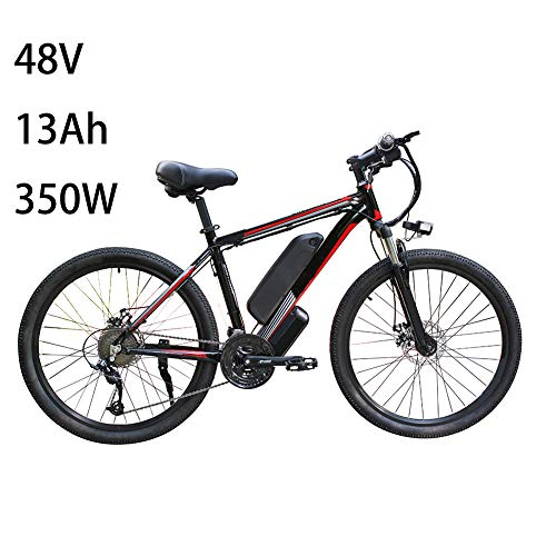 QAZWSX 26' Electric Bycicles for Men, Ip54 Waterproof Adult Electric Mountain Bike,with Removable 48V 13Ah Lithium-ion Battery for Adults, 21 Speed Shifter Electric Bike,Black Green