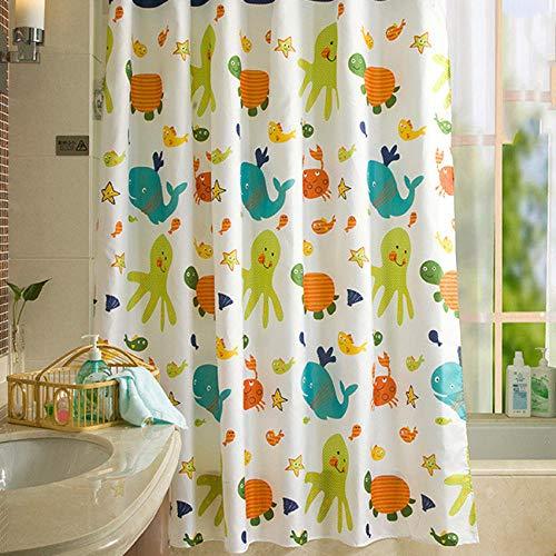 Nobrand Cartoon douchegordijnen waterdicht visschildpad badgordijn voor badkamer badkuip grote breedte badafdekking haak 180 x 200 cm