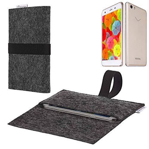 flat.design vegane Handy Hülle Aveiro für Vestel V3 5570 passgenaue Filz Tasche Case Sleeve Made in Germany