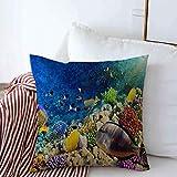 okstore1988 Funda de almohada exótica de arrecifes de coral peces del mar rojo Egipto en la naturaleza, acuario mundo bajo el agua, Maldivas granja, 45,72 cm, decoración para sofá, dormitorio, coche