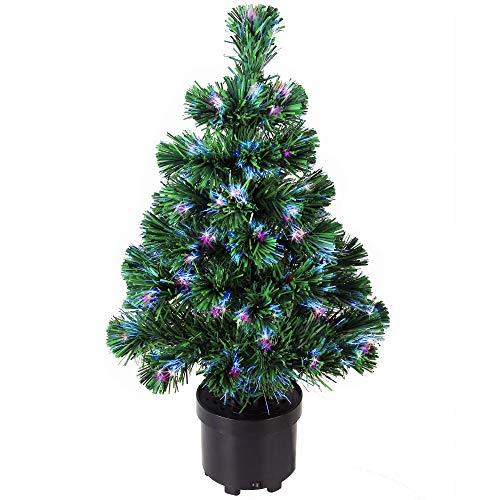 Deuba Weihnachtsbaum 60 cm Farbwechselspiel 9 Verschiedene Lichteffekte Glasfaser Christbaum Tannenbaum Klein Mini Tischbaum