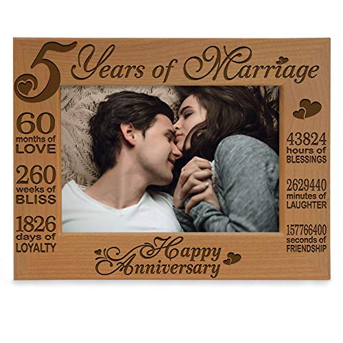 Happy 5th Engraved Natural Solid Wood Picture Frame is a 5th year anniversary gift for her