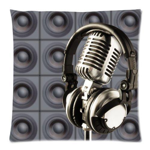 Vintage micrófono y auriculares manta funda de almohada sofá cama decoración del hogar funda de cojín 18x 18(doble lados) con cremallera