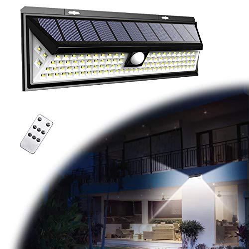 HIMNA PETTR Aplique Solar 860LM, Luz Solar Exterior Jardín 118LED con Sensor de Movimiento Y 3 Modos Seleccionables, Solar Lights Impermeable IP65 para Acera Terraza Camino