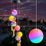 Remon Solar Wind Chimes with Bells Color-Changing - Led Light Solar Powered Mobile Hanging Chimes Crystal Ball Waterproof for Patio, Home, Outdoor, Yard, Garden, Party, Festival Decoration