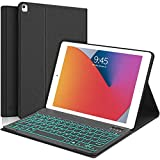 SENGBIRCH iPad Smart Keyboard Case for iPad 10.2 inch 8th /7th Generation and Air 3/Pro 10.5,7 Colors Backlight, Magnetically Detachable Wireless Keyboard with Folio Cover for New iPad 10.2' Black