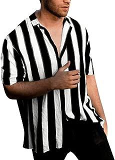JJLIKER Mens Fashion Striped Shirt Regular Fit Button Down Shirt Vertical Striped Dress Shirt Beach Hawaiian Shirt