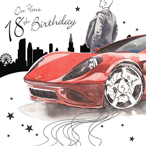 Twizler - Biglietto di auguri per il 18° compleanno per lui, con lamina d'argento e effetto...