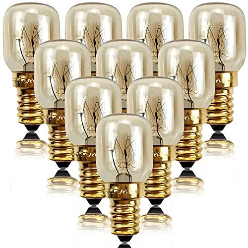 YSSMAO 10 unids 25W 300 Grado Bombilla de Alta Temperatura Bombilla microondas Bombilla de microondas Bombilla de Cristal e14 Tapa de Tornillo lámpara Pigmy lámpara de Cristal,Oro