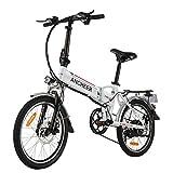 ANCHEER E-Bike Elektrofahrrad, 20 Zoll Pedelec Elektrisches Fahrrad mit Lithium-Akku (36 V 8Ah) 250 W Motor Shimano 7-Gang-Schalthebel (20 faltbar weiß)