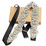 Tendaisy Women's Wedding Belts Crystal Pearls Bridal Sash Rhinestone Dress Belts for Bridal Gowns(Silver-Black)