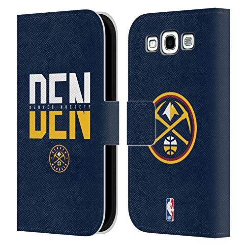 Head Case Designs Ufficiale NBA Tipografia 2019/20 Denver Nuggets Cover in Pelle a Portafoglio Compatibile con Samsung Galaxy S3 III I9300