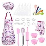 Anpro 27 PCS Kit de Cocina y Horneado para Niños , Juego de Roles para Niños,Chef Set Accesorios de Juego,Regalos para Cumpleaños y Navidad (Rosa, 3-7 años)