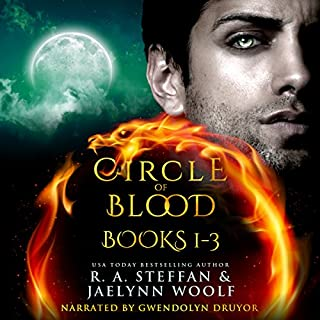 Circle of Blood     Books 1 - 3              By:                                                                                                                                 R. A. Steffan,                                                                                        Jaelynn Woolf                               Narrated by:                                                                                                                                 Gwendolyn Druyor                      Length: 27 hrs and 31 mins     128 ratings     Overall 4.6