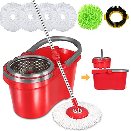 bucket with bonus mops HAPINNEX Spin Mop and Bucket with Wringer Set - for Home Kitchen Floor Cleaning - Wet/Dry Usage on Hardwood & Tile - Upgraded Self-Balanced Easy Press System with 2 Washable Microfiber Mops Heads
