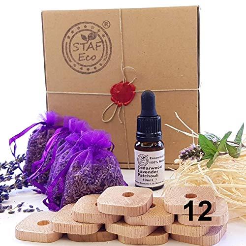 STAFECO Mottenschutz Set 12 x Zedernholz Ringe, 4 x Säckchen mit getrocknetem Lavendel, 1 x Duftöl (Zedernholz, Lavendel + Patchouli), natürliches Hausmittel gegen Schädlinge im Schrank (Set Small B)