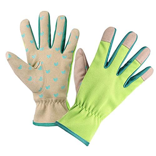 SIEPAKE Guantes de trabajo de piel, 2 pares de guantes de jardinería para el jardín y tareas domésticas, guantes de protección para el exterior, verde (M