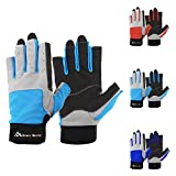 Brace Master Sailing Gloves Men Women for Sailing, Fishing, Boating, Kayaking, Surfing, Canoe Padding, Dinghy and Water Sports, Leather in Palm to Enhance Gripping (Blue, Small)