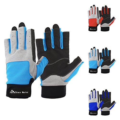 Sailing Gloves Men Women for Sailing, Fishing, Boating, Kayaking, Surfing, Canoe Padding, Dinghy and Water Sports, Leather in Palm to Enhance Gripping, 3/4 Finger Design