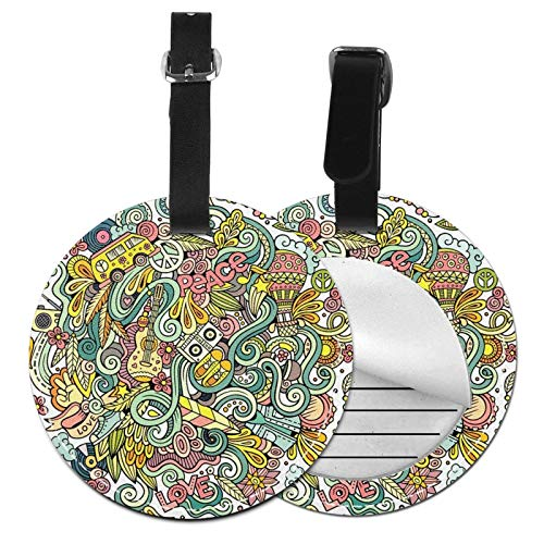 Luggage Tags Hippy Doodles Hippie Detailed Lots Suitcase Luggage Tags Business Card Holder Travel Id Bag Tag