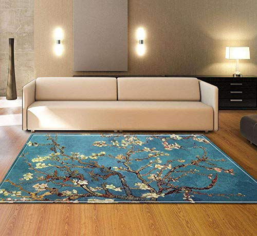 AHCMYK Area Rug for Living Room Bedroom - Blooming Plum Tree Blue, 60x90CM Modern Indoor Super Soft Carpet Suitable Mat Rug Home Decor Touch Thick Pile Carpets Durable Non Shedding