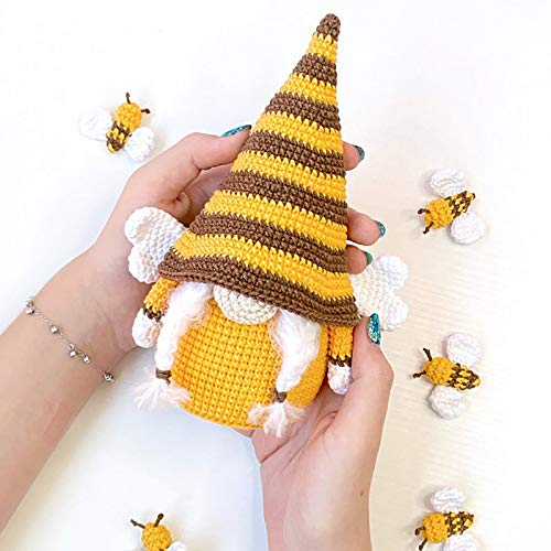 Yaguan Bumble Bee Striped Gnome Scandinavian Tomte Nisse Swedish Honey Bee Elf Home Farmhouse Kitchen Decor Bee (C-2PC, As Shows)
