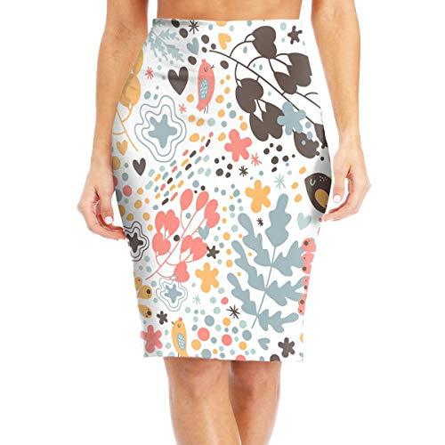 tak vogel bloem patroon aangepaste potlood rok hoge taille voor vrouwen kantoor jurk