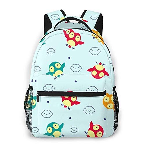 Lawenp Fashion Unisex Backpack Cartoon Owl Bookbag Lightweight Laptop Bag for School Travel Outdoor Camping
