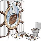 Juego de cortinas baño Accesorios baño alfombras Decoración de ruedas de barcos Alfombrilla baño Alfombra contorno Cubierta del inodoro Imagen del barco enmarcado en el volante Aventura náutica Tema O