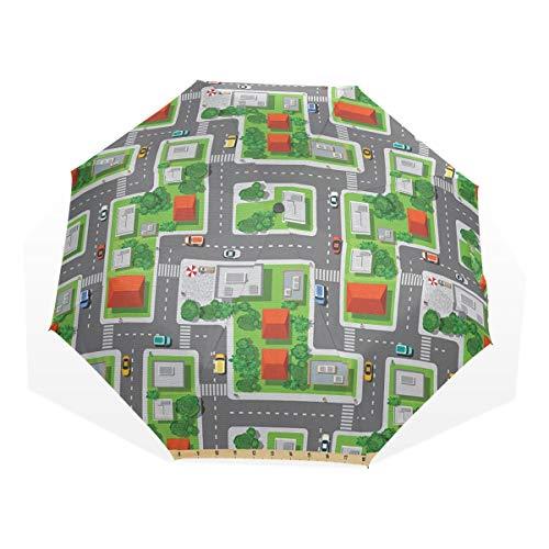 LASINSU Regenschirm,Vogelperspektive Karte der abstrakten Stadt Straßen Straßen Häuser und Autos Cartoon Print,Faltbar Kompakt Sonnenschirm UV Schutz Winddicht Regenschirm