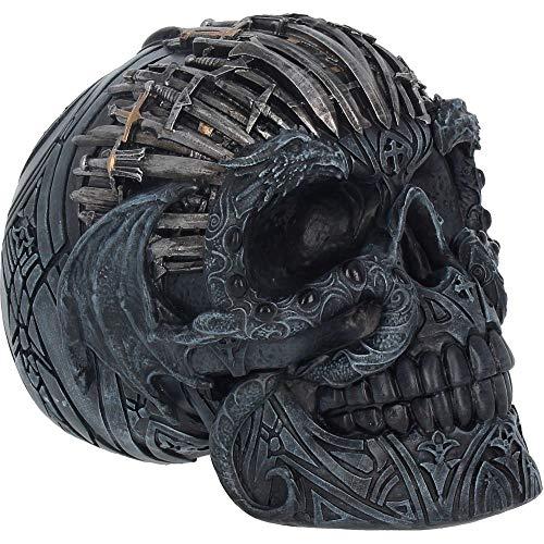 Nemesis Now Sword Skull - Figura de Calavera (Resina, 18,5 cm), Color Negro