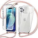 Pnakqil Funda con Cuerda para Xiaomi Redmi Note 10 4G/Note 10S +1x Película de Lentes Estuche para teléfono de Silicona TPU de 360 Grados con cordón Ajustable para Correa para el Cuello - Oro Rosa